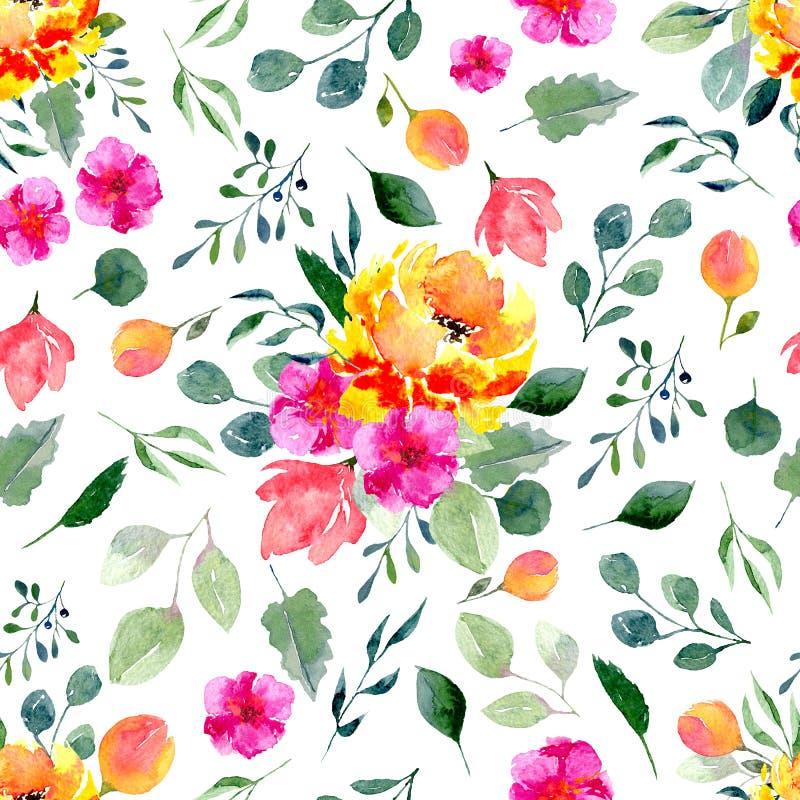 Sömlös textur av vattenfärgblommor och sidor Ljust sommartryck med lövverk och blom- beståndsdelar royaltyfri illustrationer
