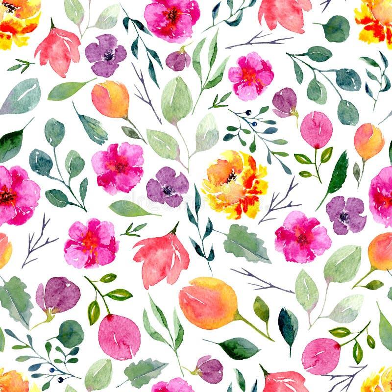 Sömlös textur av vattenfärgblommor och sidor Ljust sommartryck med lövverk, blom- beståndsdelar och trädfilialer stock illustrationer