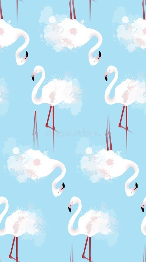 Sömlös textur av vita flamingo med vattenfärgen plaskar royaltyfri illustrationer