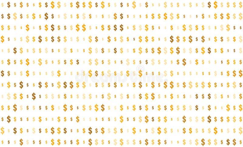 Sömlös textur, dollartecken på genomskinlig bakgrund, slumpmässigt format, skuggor av guld- färg vektor illustrationer