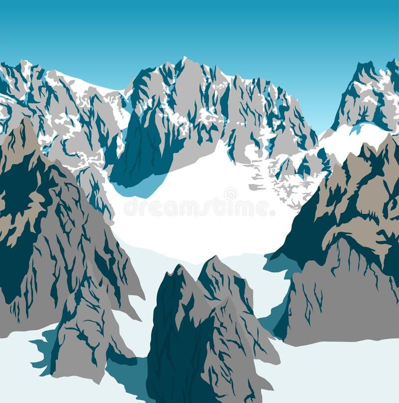 Sömlös textur för bakgrund för fjällängar för steniga berg för vektor stock illustrationer