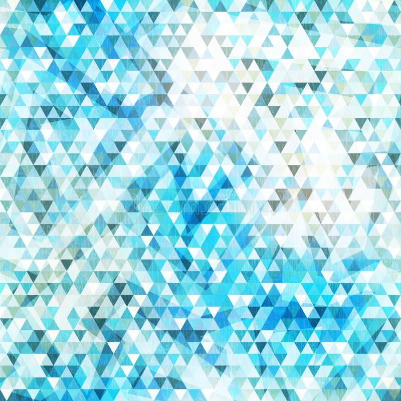 Sömlös textur för blå triangel med grungeeffekt royaltyfri illustrationer