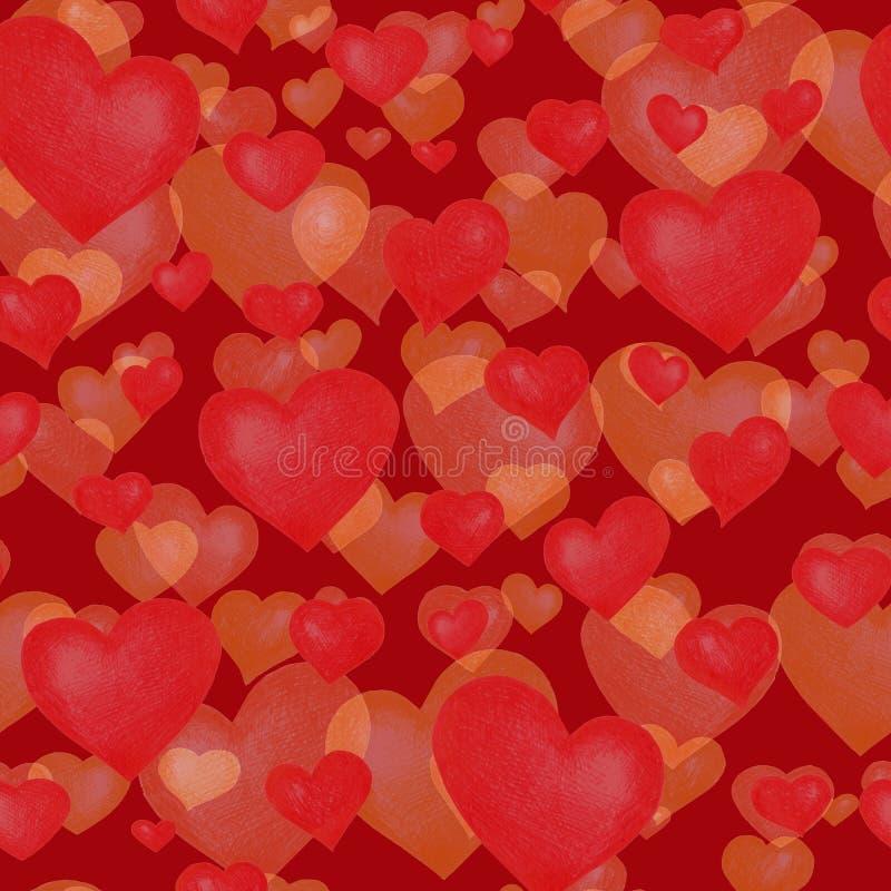 Sömlös textur för förälskelseteman Röd sömlös modell med röda hjärtor som isoleras på vit fotografering för bildbyråer