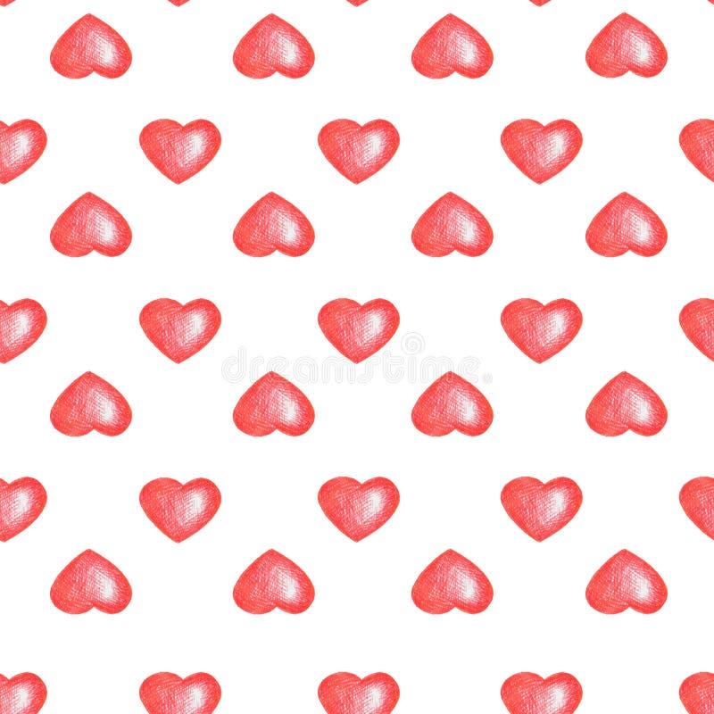 Sömlös textur för förälskelsetemes Vit bakgrund Enkel sömlös modell med röda hjärtor som isoleras på vit stock illustrationer