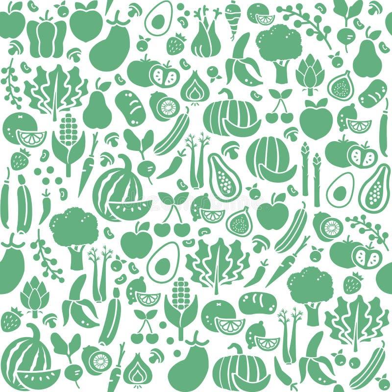 Sömlös textur för grönsaker royaltyfri illustrationer
