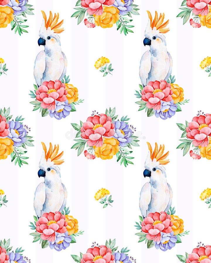 Sömlös textur för kakadua med blommor vektor illustrationer