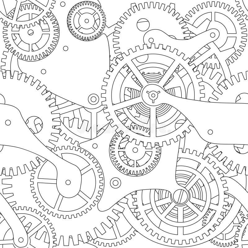 Sömlös textur för kugghjul vektor illustrationer