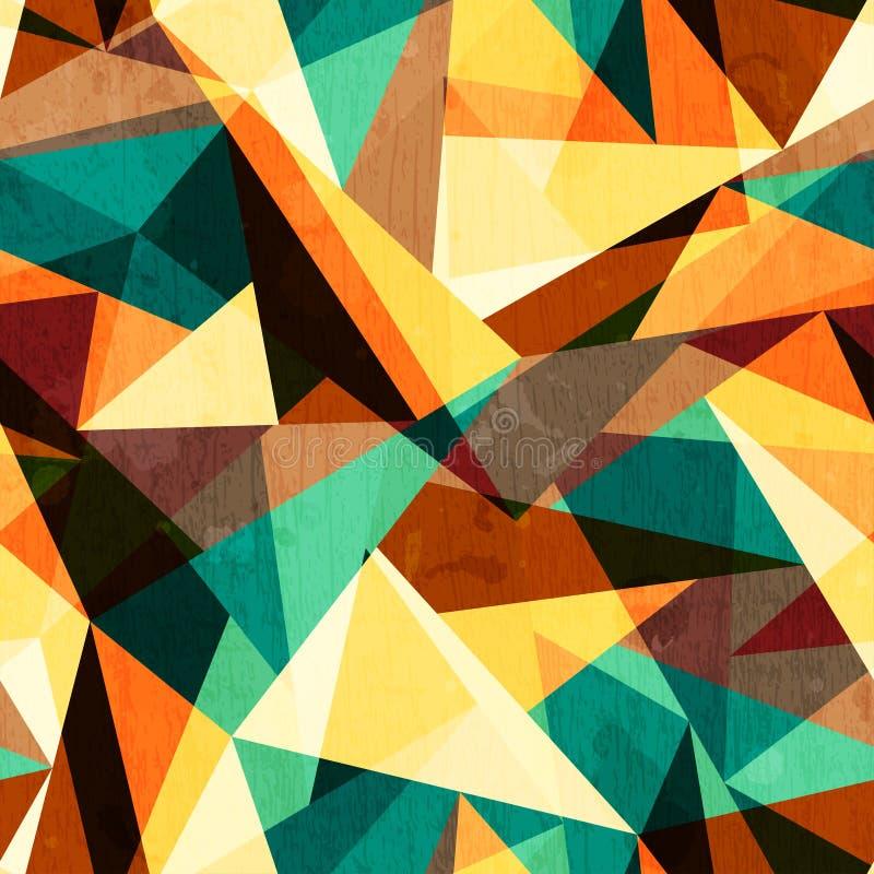 Sömlös textur för kulör triangel med wood effekt royaltyfri illustrationer