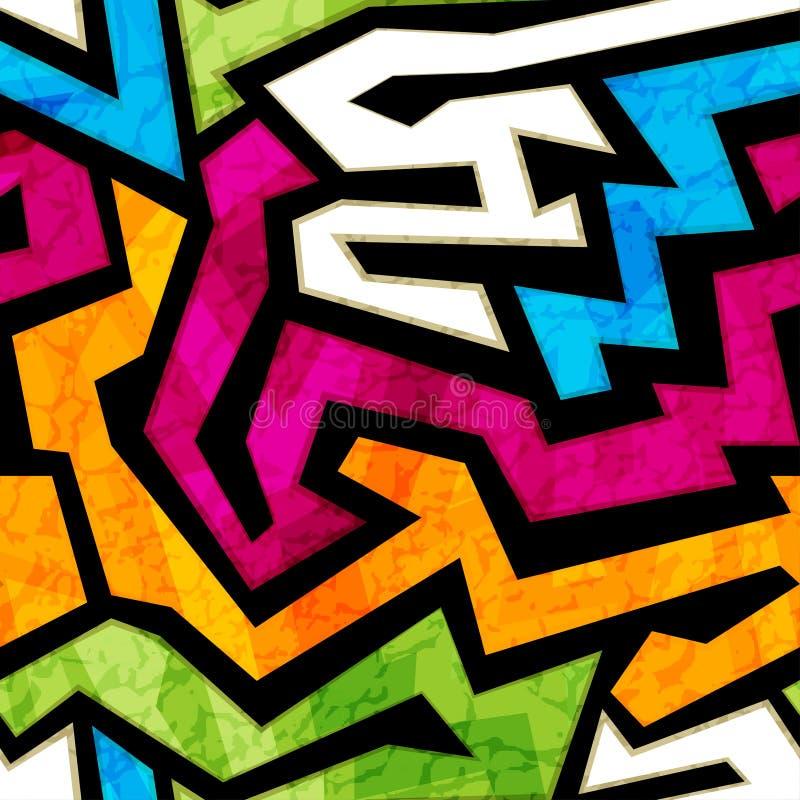 Sömlös textur för kulöra grafitti med grungeeffekt stock illustrationer