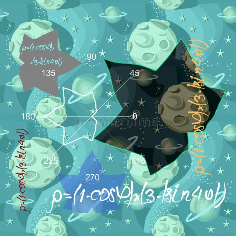 Sömlös textur för matematikvektor med formler, täppor, geometriska diagram i form av lönnlöv på utrymmebakgrund med månen, stjärn vektor illustrationer