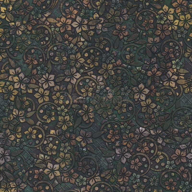 Sömlös textur för metall med blommamodellen stock illustrationer