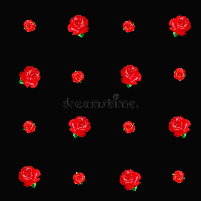 Sömlös textur för röda rosor på svart bakgrund stock illustrationer