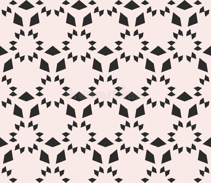 Sömlös textur för vektor, blom- tegelplattamodell Monokrom geometr stock illustrationer