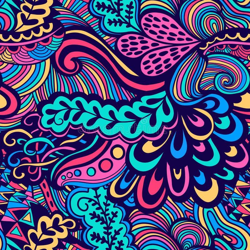 Sömlös textur för vektor med abstrakta blommor Ändlös backgroun stock illustrationer