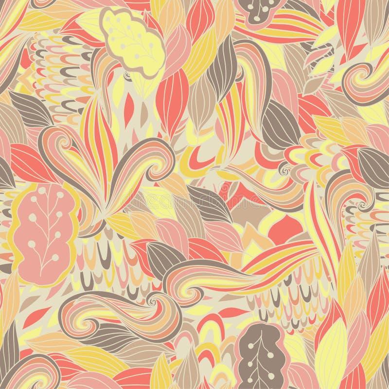 Sömlös textur för vektor med abstrakta blommor Ändlös bakgrund seamless etnisk modell Ljus modell brigham royaltyfri illustrationer