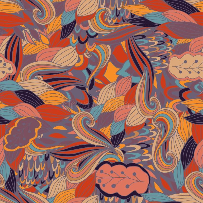 Sömlös textur för vektor med abstrakta blommor Ändlös bakgrund seamless etnisk modell Ljus modell brigham vektor illustrationer