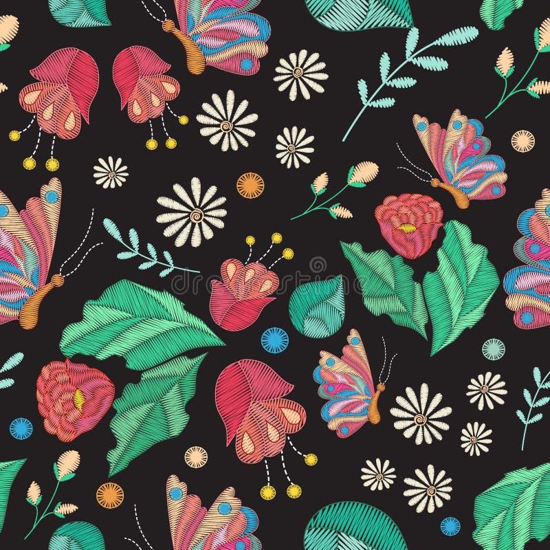 Sömlös textur för vektor med broderidesign Kulör blom- modell med den dekorativa broderade blommor, sidor och fjärilen vektor illustrationer