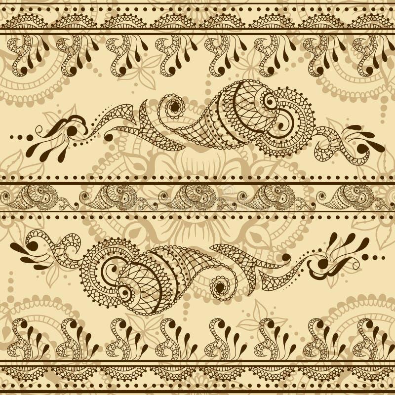 Sömlös textur för vektor med den blom- prydnaden i indisk stil Mehndi dekorativ randig modell royaltyfri illustrationer