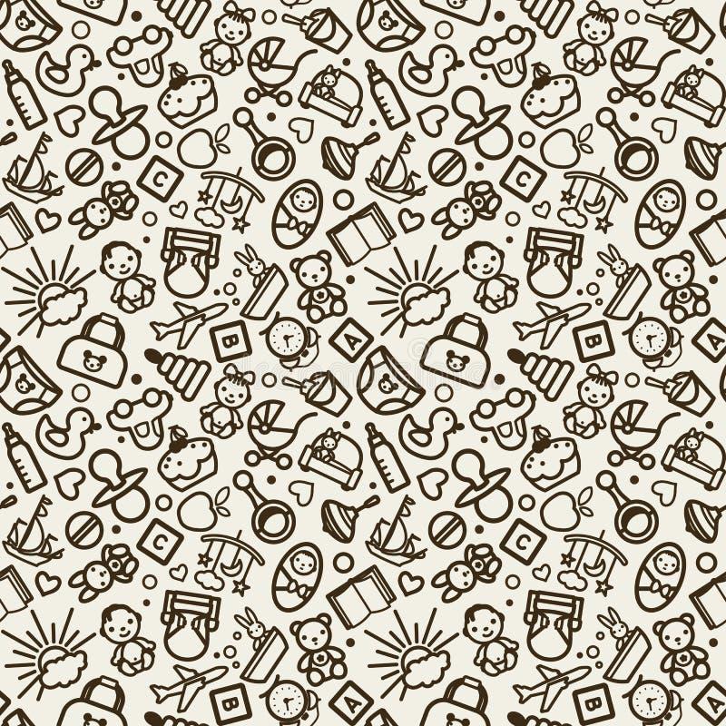 Sömlös textur för vektor med symboler - barn, barnkammare royaltyfri illustrationer