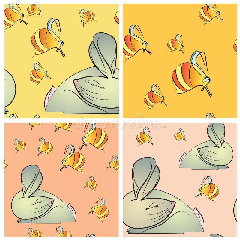 Sömlös textur fyra med kanin och bin stock illustrationer