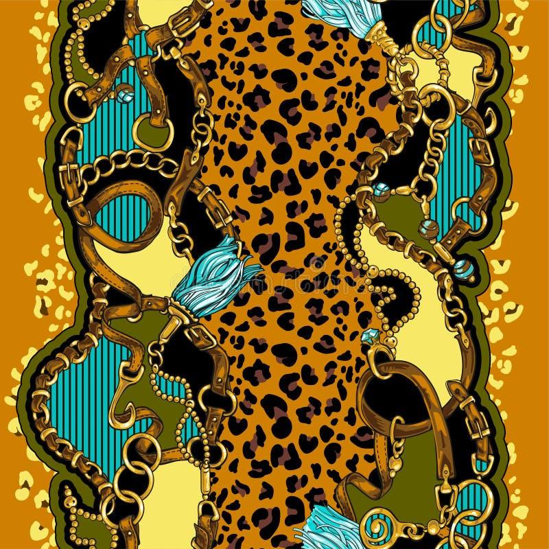 Sömlös textur i stilen av 80-tal från bälten och guld- kedjor royaltyfri illustrationer