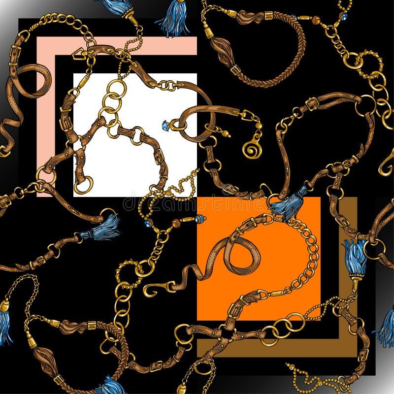 Sömlös textur i stilen av 80-tal från bälten och kedjor vektor illustrationer