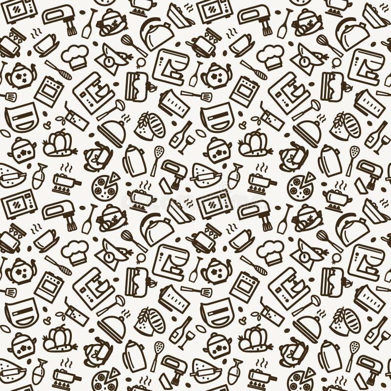 Sömlös textur - kök stock illustrationer