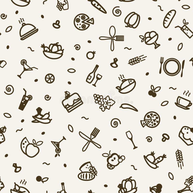 Sömlös textur - mat stock illustrationer