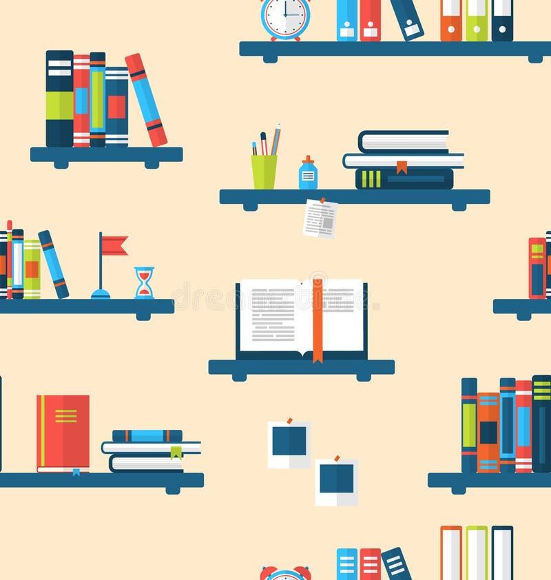 Sömlös textur med böcker på bokhyllor royaltyfri illustrationer