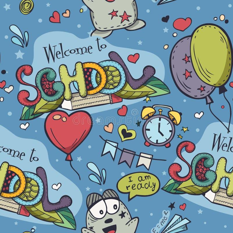 Sömlös textur med blåa bakgrunds- och skolaklotter stock illustrationer