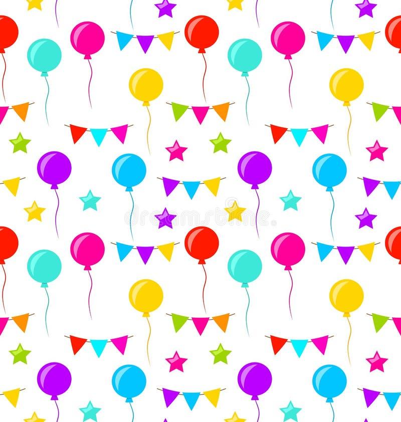 Sömlös textur med Buntingpartiet sjunker, ballonger, stjärnor stock illustrationer