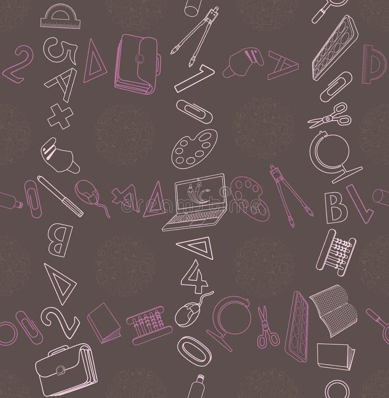 Sömlös textur med den abstrakta modellen på utbildning eller affär stock illustrationer