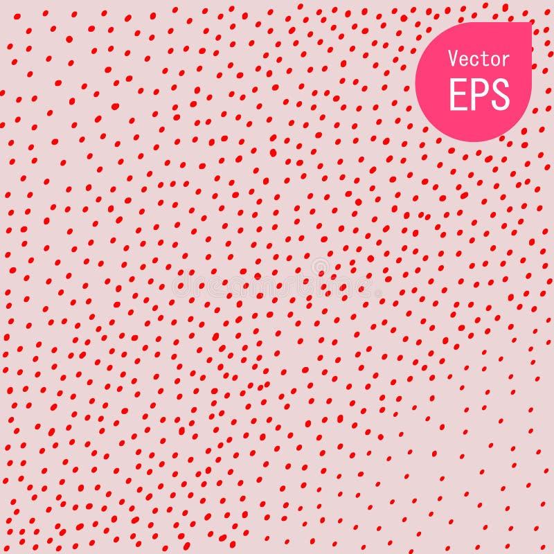 Sömlös textur med den lilla röda pricken Hand dragit grafiskt tryck Röd polka Dot Pattern Background Vector Illustration stock illustrationer