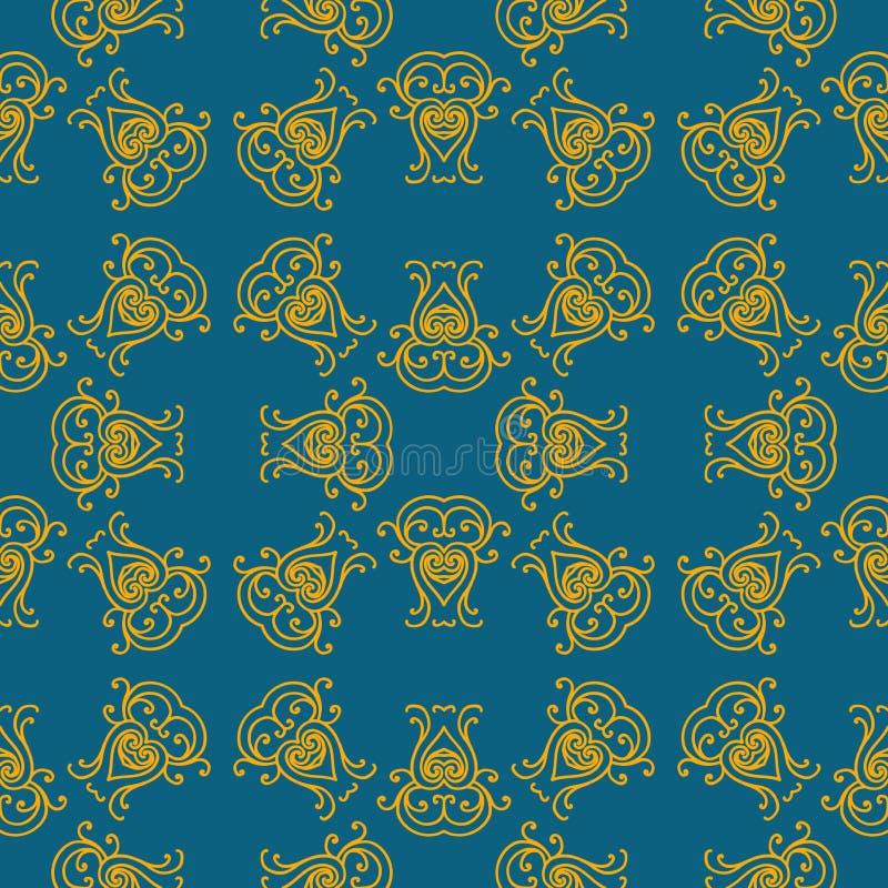 Sömlös textur med den lyxiga arabiska damast prydnaden Vektortappningmodell royaltyfri illustrationer