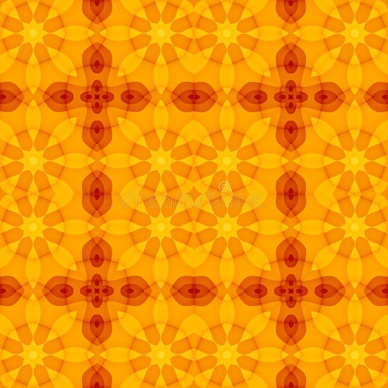 Sömlös textur med den varma röda blom- snittmodellen för orange guling vektor illustrationer