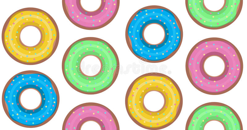 Sömlös textur med donuts stock illustrationer