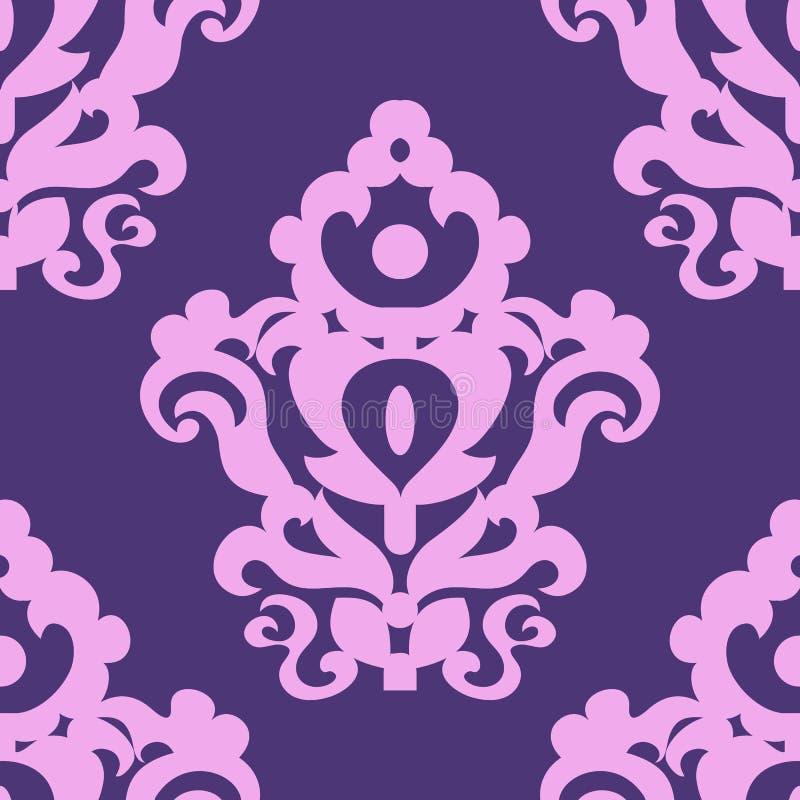 Sömlös textur med en klassisk modell i violetta signaler stock illustrationer