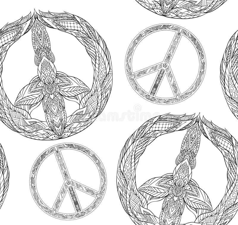 Sömlös textur med ett svartvitt fredsymbol och en bohomodell på en vit bakgrund royaltyfri illustrationer