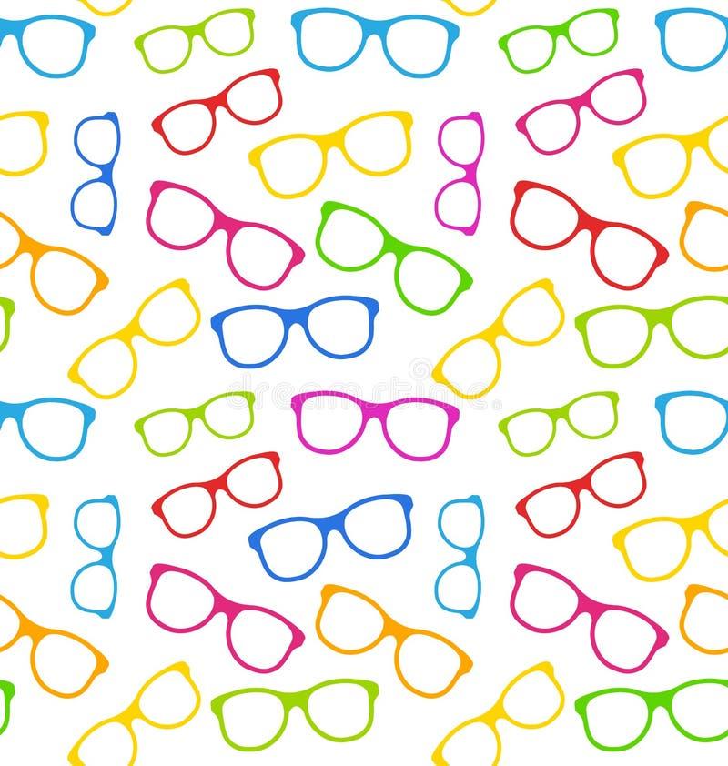 Sömlös textur med färgrikt glasögon vektor illustrationer