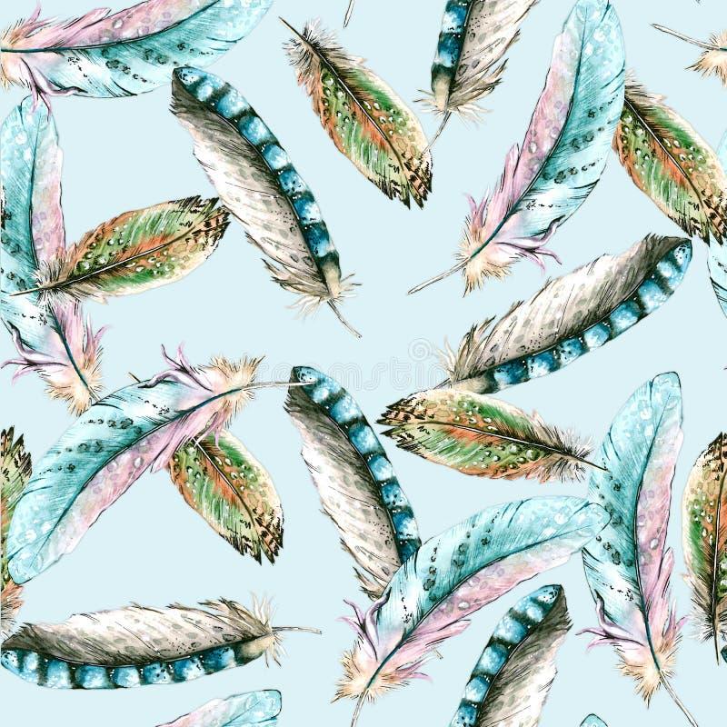 Sömlös textur med fågelfjädrar background card congratulation invitation vektor illustrationer