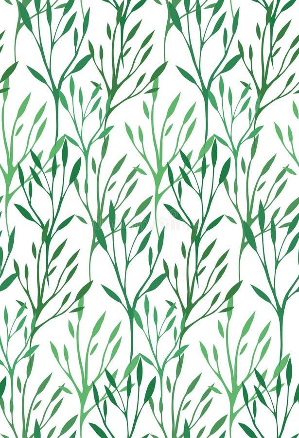 Sömlös textur med gräsplansidor och filialer royaltyfri illustrationer