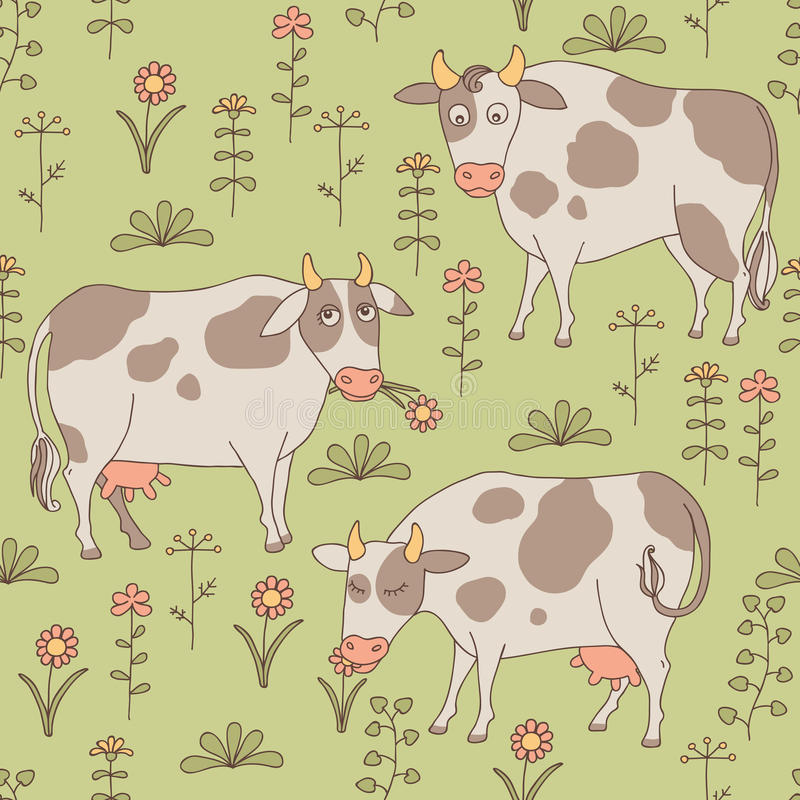 Sömlös textur med kor, tjuren och blommor i th vektor illustrationer