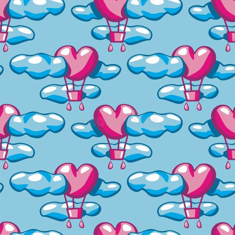 Sömlös textur med luftballonger royaltyfri illustrationer