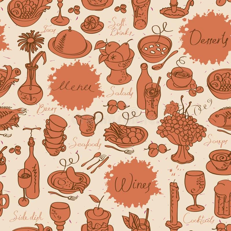 Sömlös textur med mat och drinken vektor illustrationer