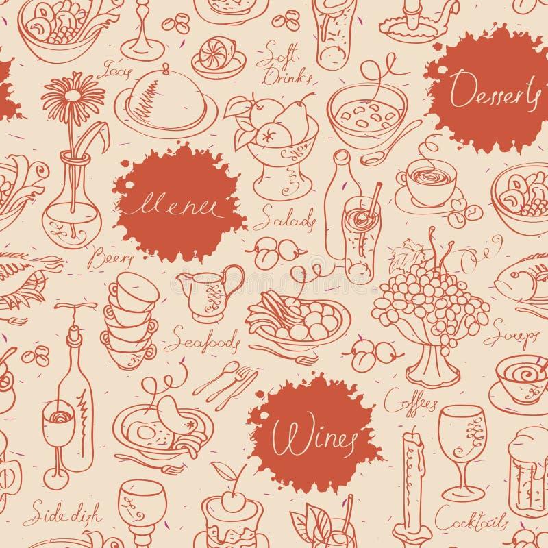Sömlös textur med mat och drinken royaltyfri illustrationer