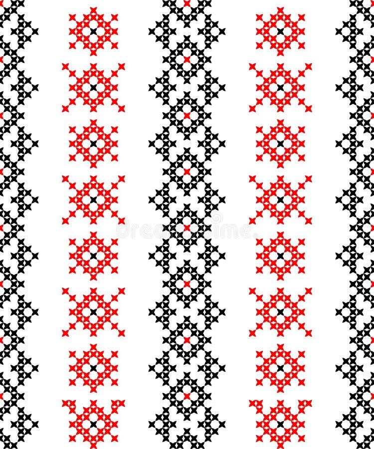 Sömlös textur med röda och svarta abstrakta modeller stock illustrationer