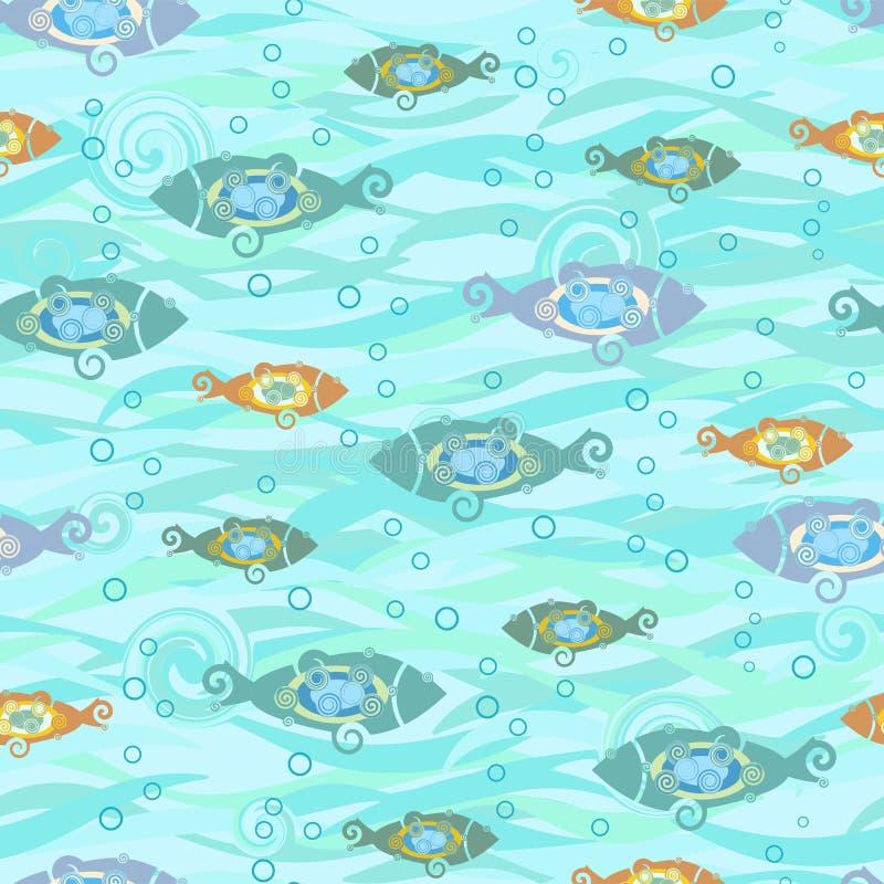 Sömlös textur med stiliserade fiskar Textiler med tecknad filmfiskar royaltyfri illustrationer