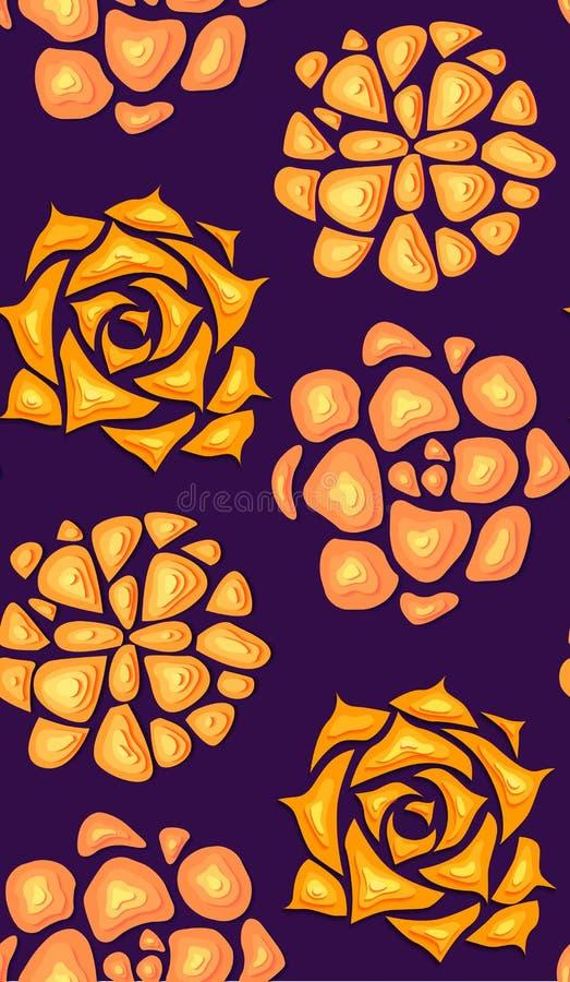 Sömlös textur med suckulenter som klipps ut ur papper i orange färg med en bästa sikt på violett bakgrund Vektorneonmodell royaltyfri illustrationer
