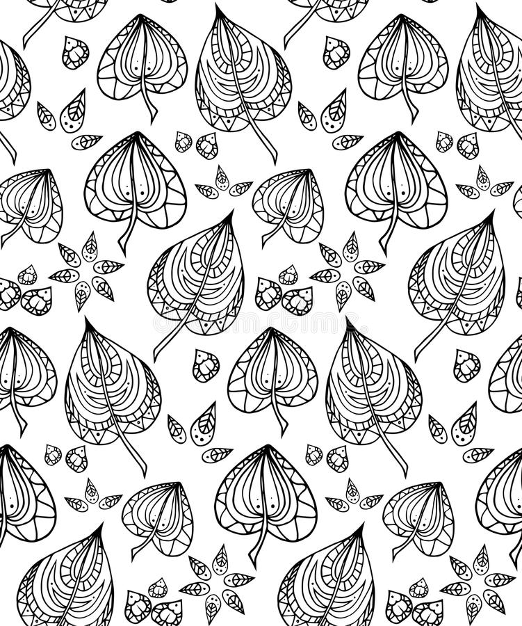 Sömlös textur med svartvita klottersidor stock illustrationer