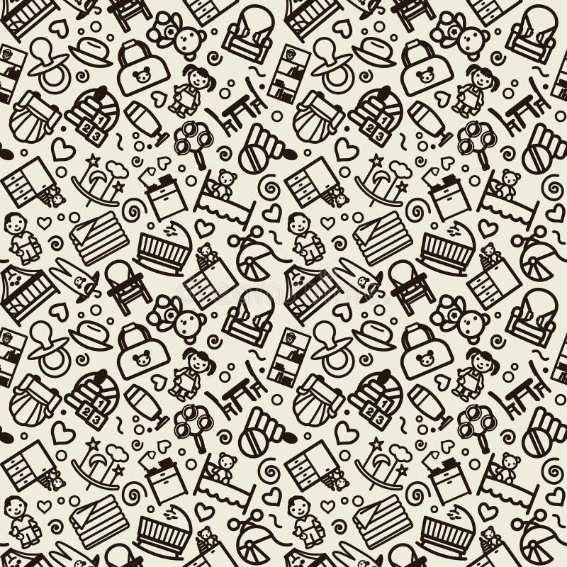Sömlös textur med symboler - barn, barnkammare vektor illustrationer